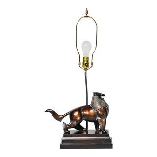 Vintage Frederick Cooper Bronze Egyptian Dog Lamp For Sale