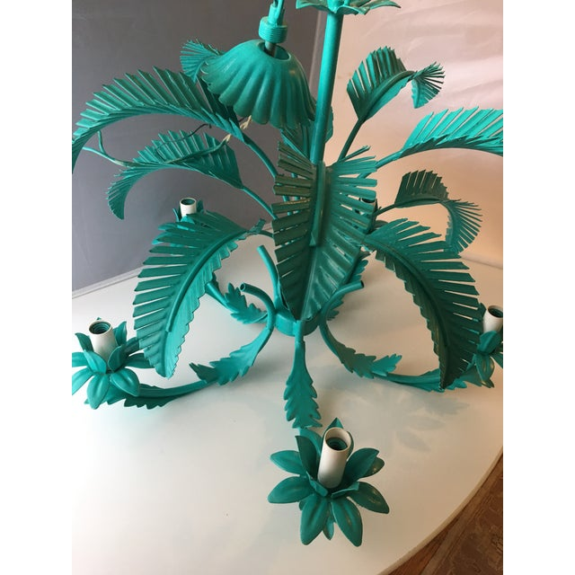 Turquoise Palm Tole Chandelier - Image 6 of 7