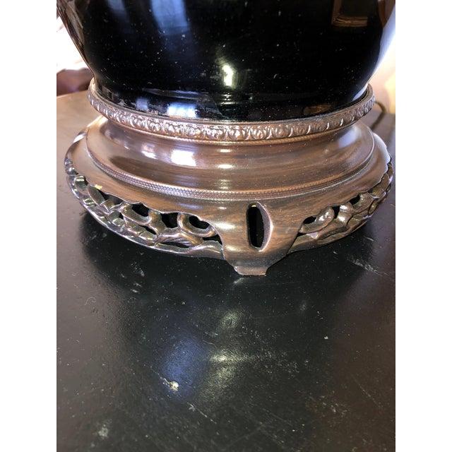 Asian Style Elegant Antique Black Table Lamp For Sale In Philadelphia - Image 6 of 7