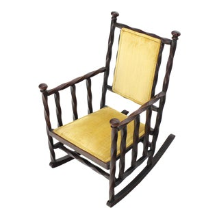 """Arts & Crafts Rocking Chair of """"Twisted"""" Wood Frame For Sale"""