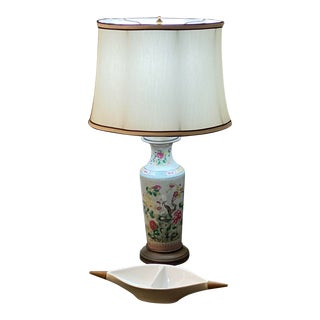 Mid-Century Chinese Painted Porcelain Lamp For Sale