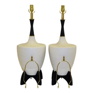 Pair Black and White Pebble Glaze Ceramic Mid Century Modern Lamps 1950s. For Sale
