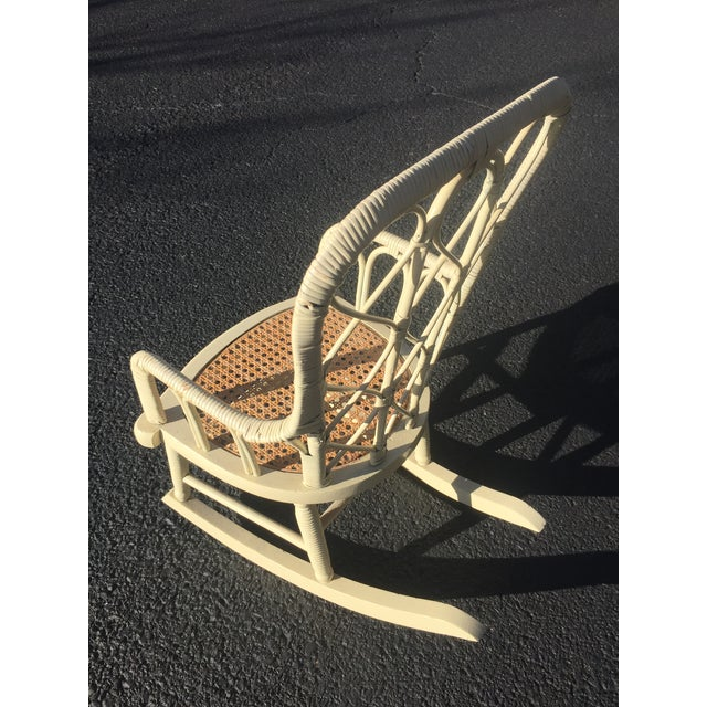 White Antique Victorian Wicker Childs Rocking Chair For Sale - Image 8 of 9