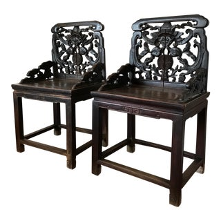 Chinese 18th Century Qing Aged Hand Carved Jumu Wood Chairs- A Pair