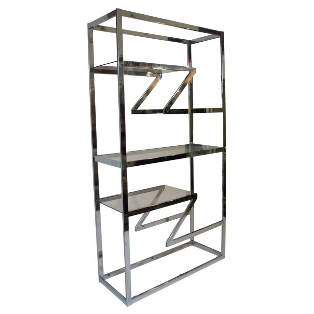 70's Chrome and Glass Etagere - Image 1 of 5