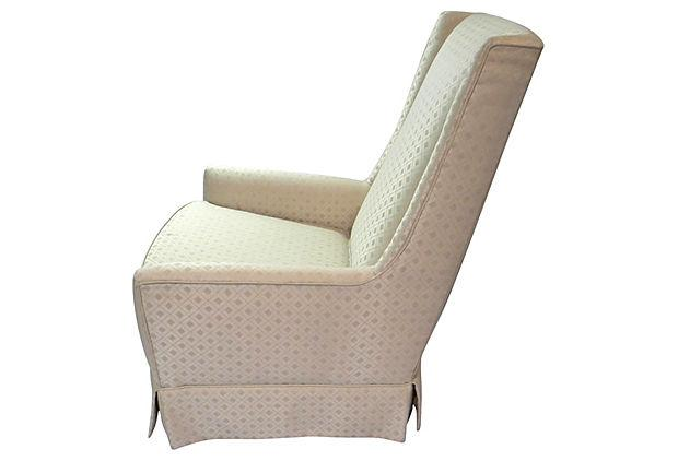 A Custom Upholstered Vintage Occasional Chair And Ottoman Set With A Lovely High  Back And Firm