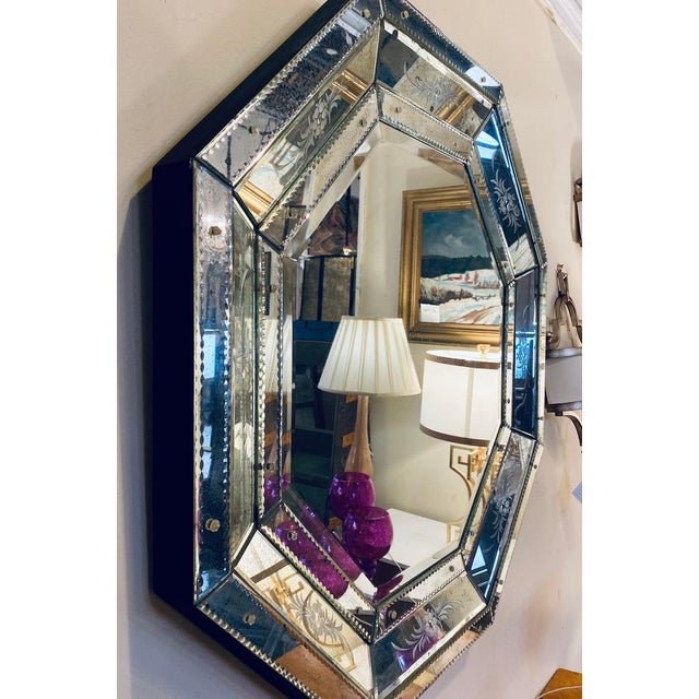 Venetian Style Hollywood Regency Octagon Mirror Etched Glass Beveled Antiqued For Sale - Image 12 of 13