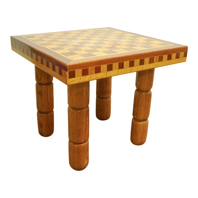 Postmodern Oak and Walnut Inlay End Table, Circa 1980 For Sale
