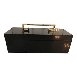 Hollywood Regency Greek Key Lacquer Trinket Box For Sale