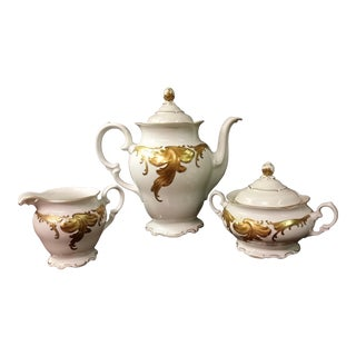 Early 20th Century Antique Walbrzych of Poland China Coffee Service - Set of 3 For Sale
