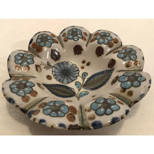 Vintage Mexican Pottery Hand Painted Ashtray For Sale - Image 4 of 6