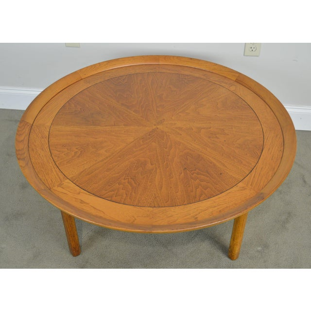 "Tomlinson Sophisticate 40"" Round Mid Century Modern Walnut & Recan Coffee Table For Sale In Philadelphia - Image 6 of 13"