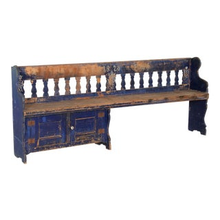 Early 20th Century Antique Original Blue Painted Pine Bench For Sale