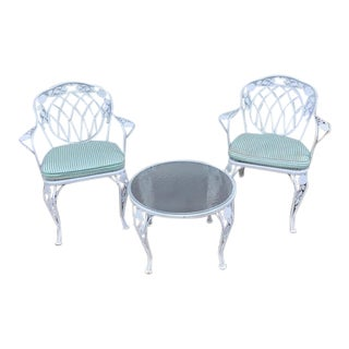 Metal Patio Table & Chairs - Set of 3 For Sale