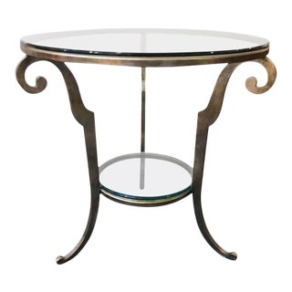 Silver Gilt Steel & Glass Round Side Table For Sale