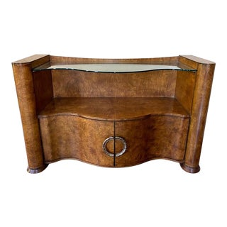 Drexel Heritage Burled Wood and Glass Serpentine Sideboard For Sale
