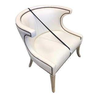 Modern White Leather Chair For Sale