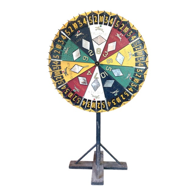 Antique 1930s Folk Art Horse Race Betting Game Wheel For Sale