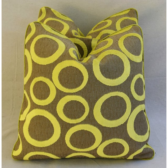 Hollywood Glam Lime Opuzen Cut Velvet Pillows - a Pair - Image 8 of 11