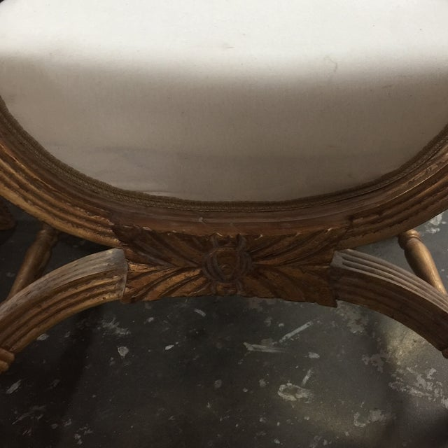 X-Base Gilded Wood Accent Benches - A Pair - Image 6 of 6