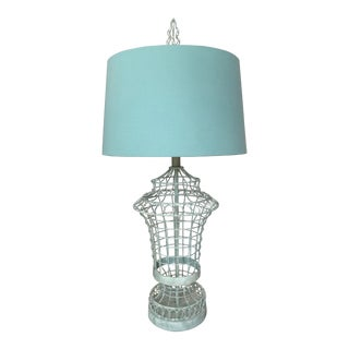 Aqua Colored Wire Birdcage Lamp With Matching Finial and Color Coordinated Lamp Shade For Sale