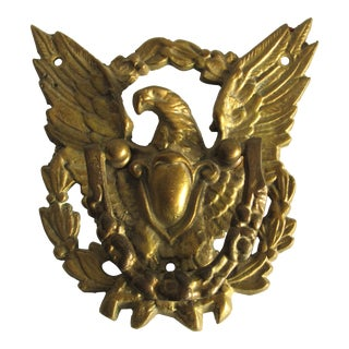 Antique American Eagle & Shield Brass Bronze Door Knocker For Sale