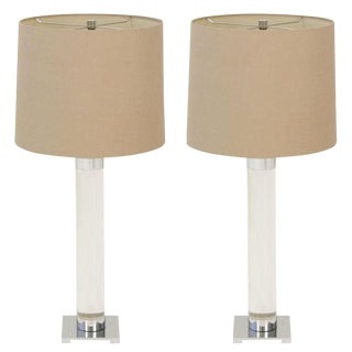 Hansen Crystal Lucite Column Table Lamps - a Pair For Sale