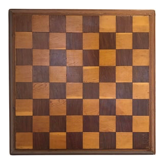 Vintage Hand-Made Wood Chessboard For Sale