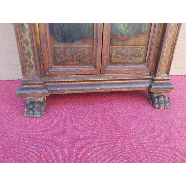 19th Century Italian Hand Painted Polychromed Giltwood Claw Footed 2 Piece Cupboard For Sale - Image 10 of 13