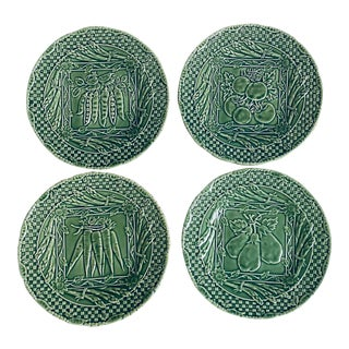 Portuguese Charles Sadek Majolica Pottery Dessert Plates - Set of 4 For Sale