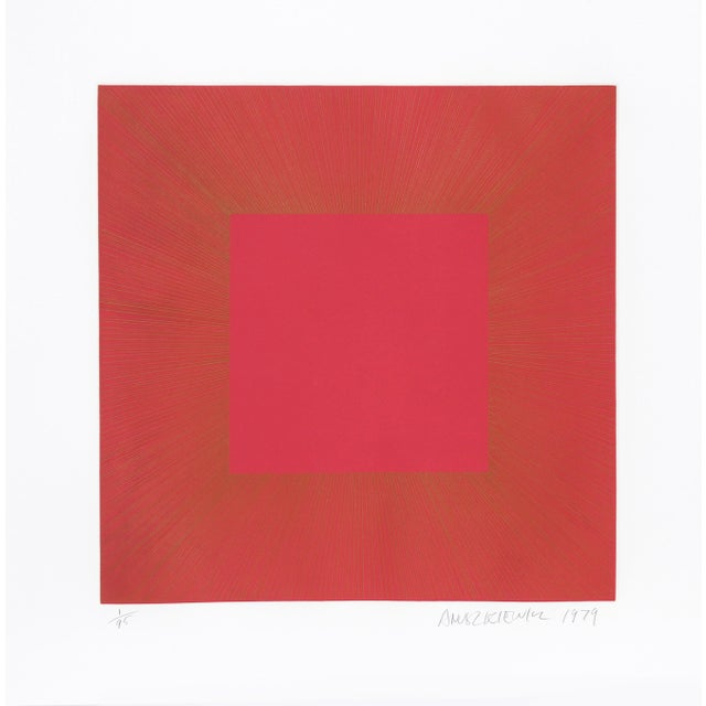 "Modern Richard Anuszkiewicz, ""Summer Suite"" (Red & Gold I), Op Art Etching For Sale - Image 3 of 3"