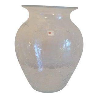 Blenko 827s Don Shepherd Crystal Crackled Vase For Sale