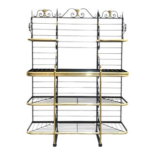Perfit Fils Ltd Paris French Wrought Iron & Brass Bakers Rack With Removable Custom Lead Glass Sshelfs For Sale
