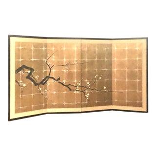 Japanese 4 Four Panel Screen Byobu Gold Gilded Black Cherry Blossom Plum Flower Antique Asian For Sale