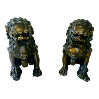 Vintage Brass-Plated Foo Dogs - A Pair For Sale