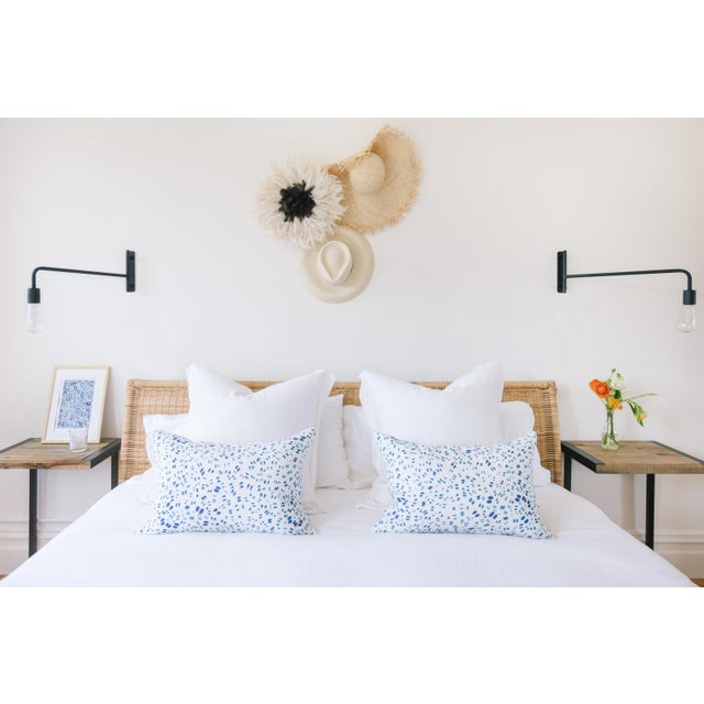 "Scattered Indigo Petals Linen Pillow - 10"" X 22"" - Image 5 of 7"