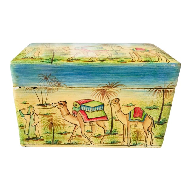 India Painted Wood Box For Sale