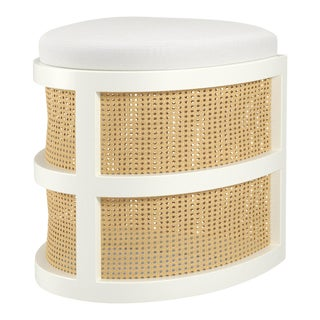 Isabella Demi Stool - Simply White, Optic White Linen For Sale