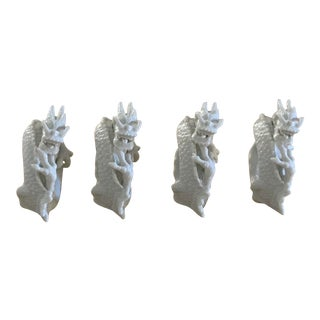 Vintage Bergdorf Goodman Fitz & Floyd Blanc De Chine Dragon Napkin Rings - Set of 4 For Sale