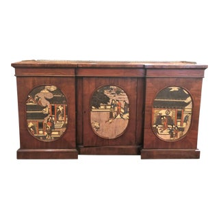 Antique English William IV Mahogany Credenza With Chinoiserie Panels, Circa 1830-1840. For Sale