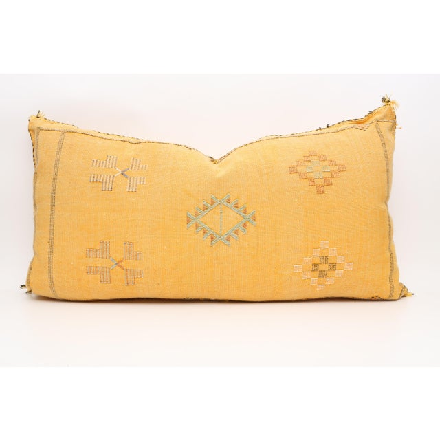 1960s Moroccan Sabra Cactus Silk Lumbar Pillow Double Sided Cover For Sale - Image 5 of 5