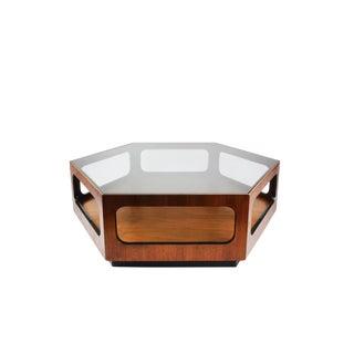 Lane Walnut and Smoked Glass Hexagonal Coffee Table