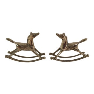 Vintage Brass Rocking Horses - A Pair For Sale