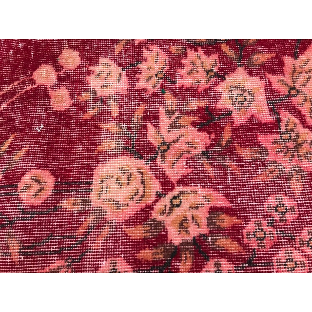 Red Turkish Tribal Anatolian Distressed Vintage Rug - 7′ × 10′2″ For Sale - Image 8 of 11
