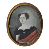 Image of Elegant Miniature Portrait of a Young Woman in a Black Dress C.1850s For Sale