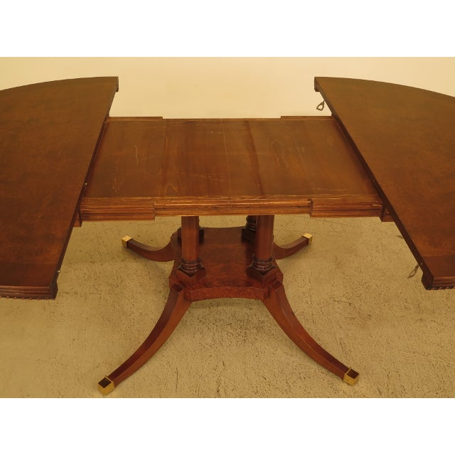 Burl Walnut Round Dining Room Extension Table For Sale - Image 9 of 13