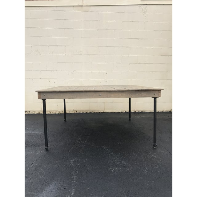 Rustic Dove Gray Wood Square Farm Table For Sale - Image 11 of 11