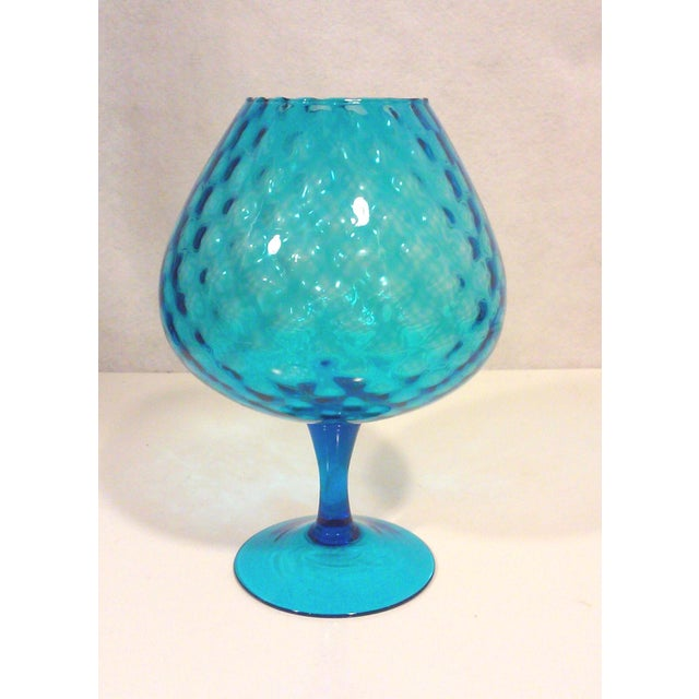 Italian Azure Blue Footed Vases - Pair - Image 3 of 8
