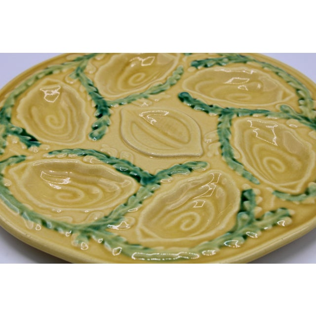 French 1960s Vintage French Lemon Yellow Ceramic Oyster Plate For Sale - Image 3 of 9