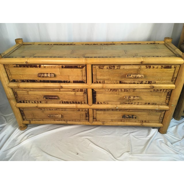 Brown 1960s Chinoiserie Bamboo Dresser For Sale - Image 8 of 10